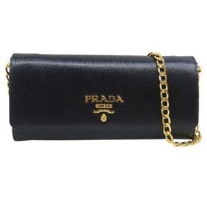 💯 AuthPrada Wallet on Chain Saffiano Shoulder Bag